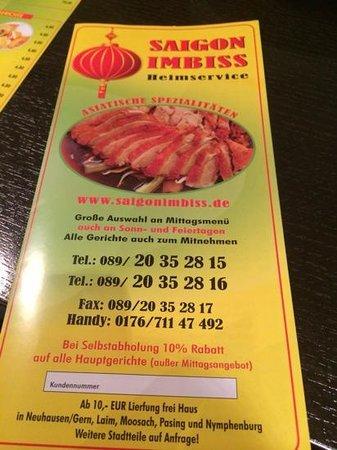 Hotel Laimer Hof : Chinese takeaway