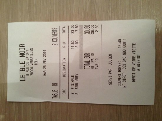 Le Ble Noir: Bill for 4 cperes and 2 teas