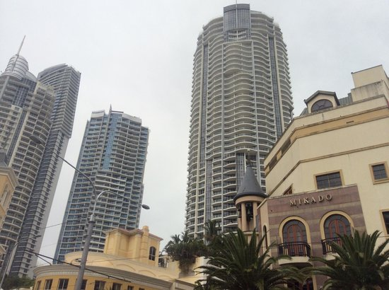 Mantra Towers of Chevron: day time street view of all three towers