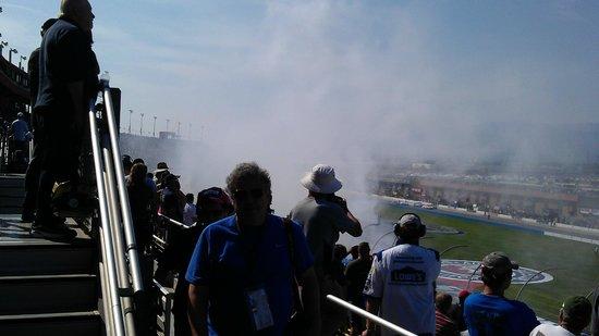 winners smoke at Auto Club Speedway in Fontana, CA