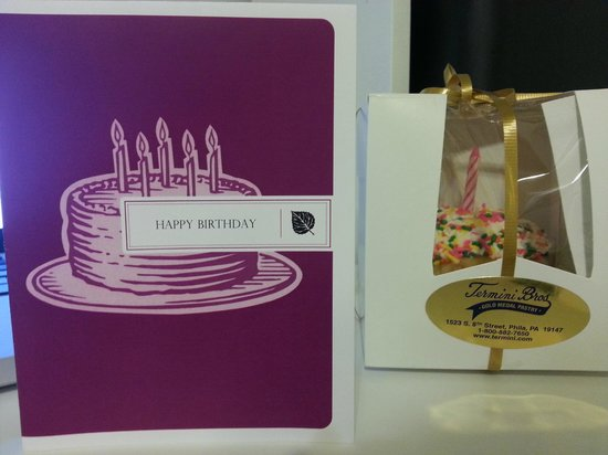 The Windsor Suites: Large cupcake & card the staff got for my birthday.
