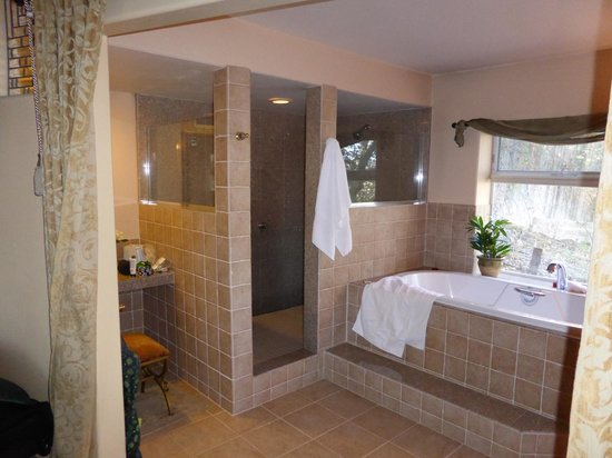Chanticleer Vineyard Bed and Breakfast: Awesome tub and LARGE shower!