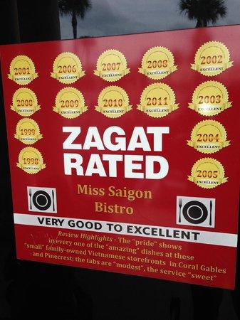 Miss Saigon Bistro: Zagat rated