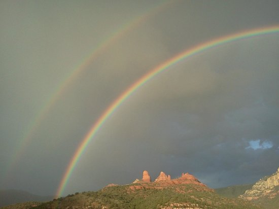 Matterhorn Inn: Double Rainbow in Monsoon Season