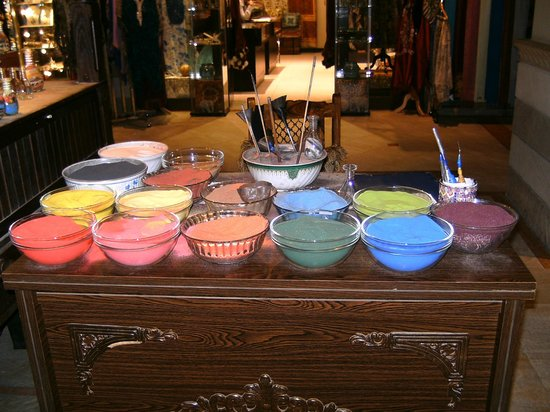 The Dubai Mall: Coloured sand on display in one of the shops