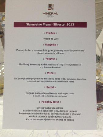 Hotel Mineral: Very very nice meal. Silvester 2013