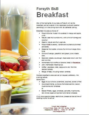 Forsyth Bed & Breakfast: Breakfast Menu