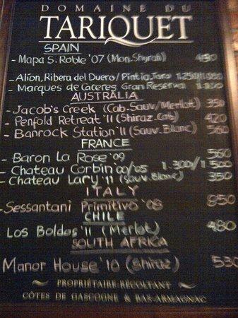 Canos Tapas Cocina: wine list
