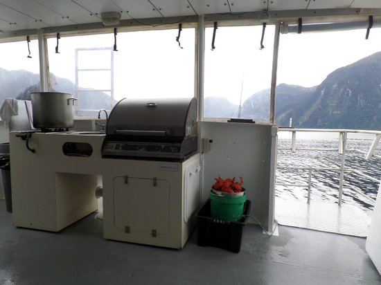 Doubtful Sound : Fish and Lobster cooking on the deck.