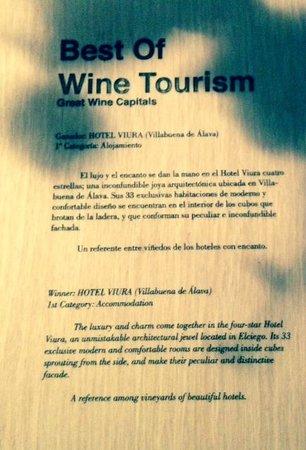 Hotel Viura: Turismo enológico distinción