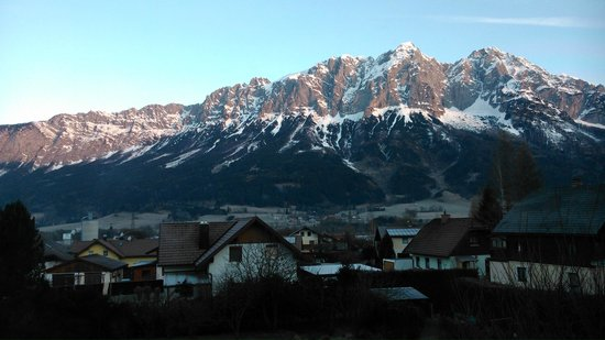 Oeblarn, Austria: View from one of the rooms in a winter morning