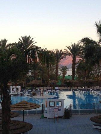U Coral Beach Club Eilat: Vue de la piscine de la terrasse du restaurant
