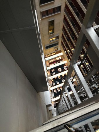 Park Plaza County Hall London : Looking down to Resturant by Lifts