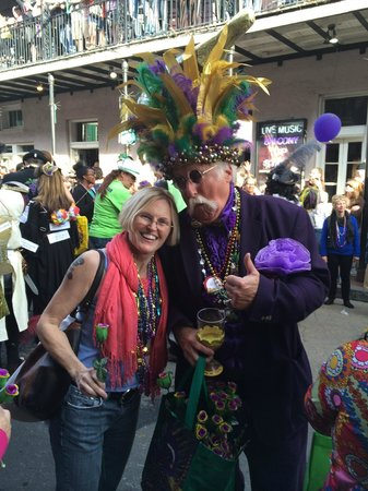 Bourbon Street: Mrs M with Krewe of Kork parader!