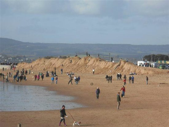 The Imperial Exmouth Hotel: The Beach with part of the sand dunes washed away by storm