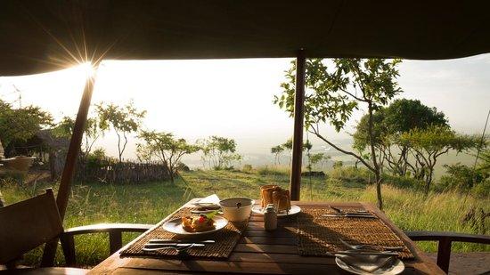 Kilima Camp: vue du restaurant au petit-matin