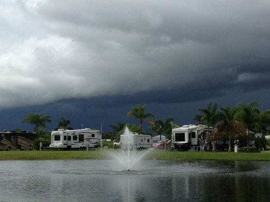Silver Palms RV Resort: view across our stocked fishing pond