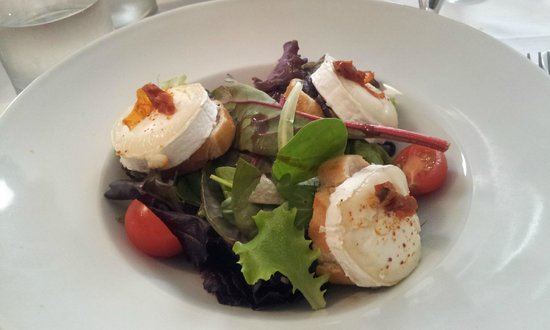 A Table: Goat cheese salad starter