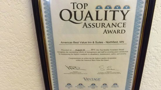 Americas Best Value Inn & Suites Northfield : Top Quality Assurance Award