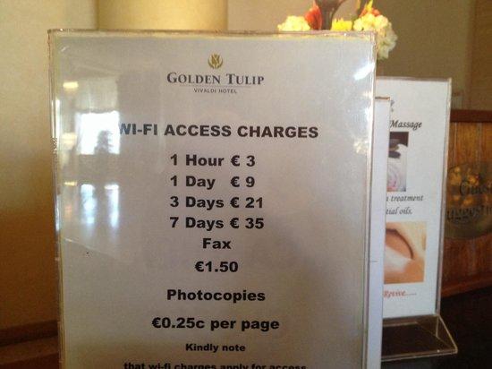 Golden Tulip Vivaldi Hotel: Le tariffe per accedere ad internet