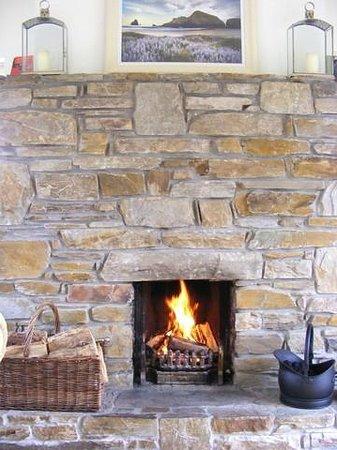 The Red Door B&B Westport: sunroom fireplace