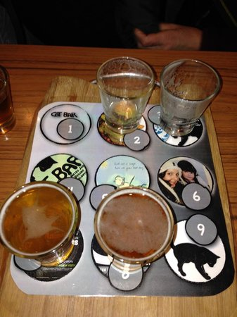 Cat Bar : The beer sampler.  Numbered so you can tell what you are sampling.