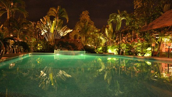 Hotel Villa Creole: Hotel Pool by Night