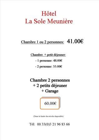 La Sole Meuniere Hotel/Restaurant : Des petits prix