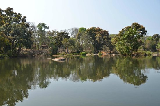 Dubare Elephant Camp : View of Kaveri, cottages in the background