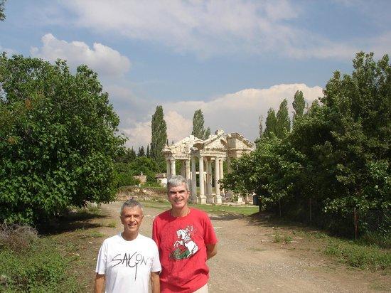 The famous Tetrapylon Gate in the ruins of Aphrodisias in Turkey