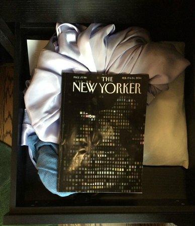 Hyatt Union Square New York: Three small shallow drawers perhaps 14x14x2.5 inches.