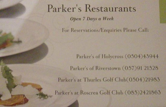 Parkers Restaurant: Contact details for Parkers 4 Restaurants