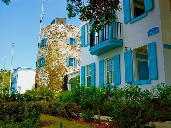 Bluebeard's Castle Resort: The historic part of the hotel, including the tower of Bluebeard's Castle.