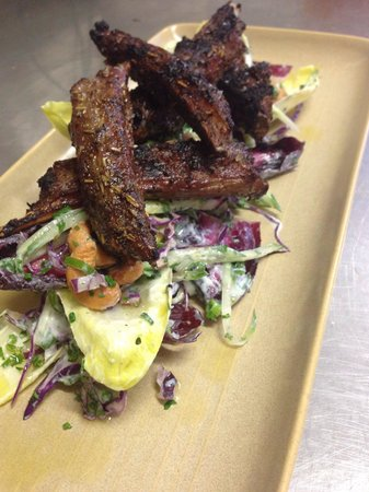 The Gem Bar And Dining BBQ Lamb Ribs With Witloff Salted Cashew Salad