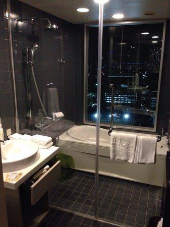 Mitsui Garden Hotel Ginza Premier: Sink, shower & bathtub with a city view