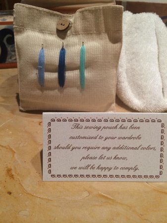 Las Ventanas al Paraiso, A Rosewood Resort: personalized sewing kit maid especially for you by your maids! seriously!