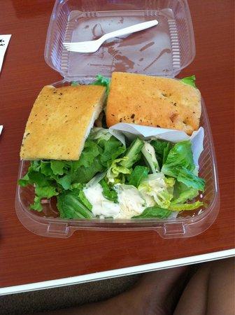 Stillwell's Bakery & Cafe : club sandwich on foccacia bread with Caesar salad