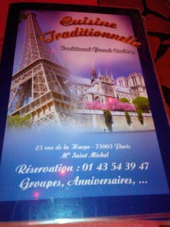 Santorini: carte du restaurant