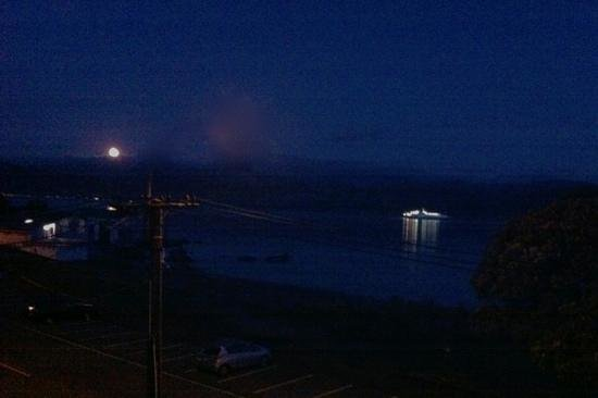 View From Our Room  Full Moon Rising Over Orongorongo Mountain Range As Interisland Ferry Sails