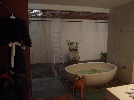 The Sarojin: Looking into the bathroom - fantastic bath & shower
