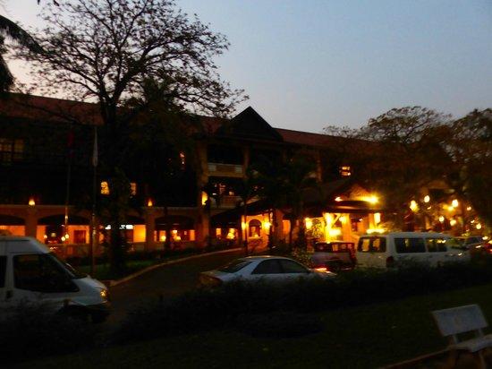 Victoria Angkor Resort & Spa: From park at night (after bat show)