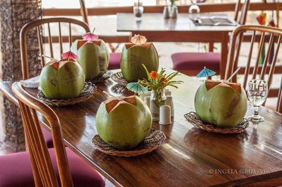 Cashew Grove Beach Resort: Welcoming coconut drink