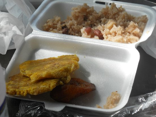 Pork Pit : peas and rice, plantains
