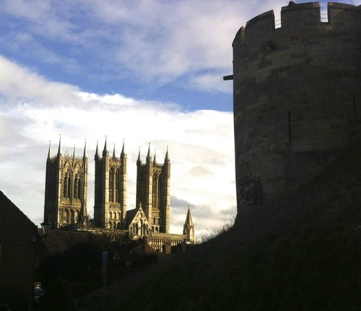 Lincoln Castle: The cathedral towers showing the proximity of the castle walls