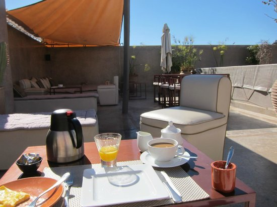 Riad Dar One: Breakfast one morning on the rooftop