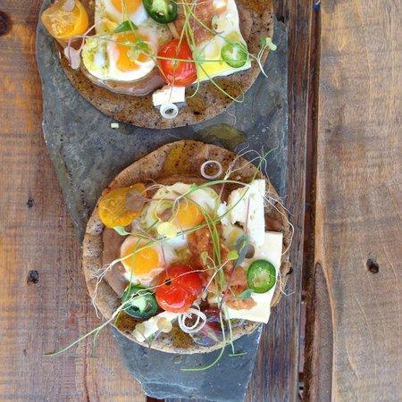 El Tupe: quail eggs on coffee crusted corn tortillas