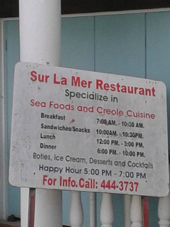Sur La Mer: The menu
