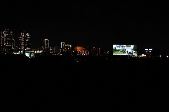 Coyote Drive-In: Coyote Drive In - Screen With Fort Worth As The Backdrop