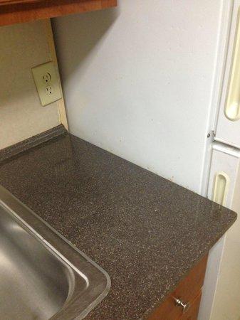 Captains Quarters Resort: Dirt and food on refrigerator.