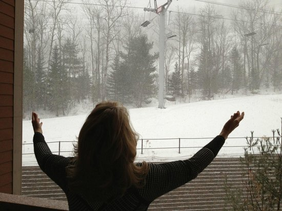 Kaatskill Mountain Club: View from suite with snow falling!